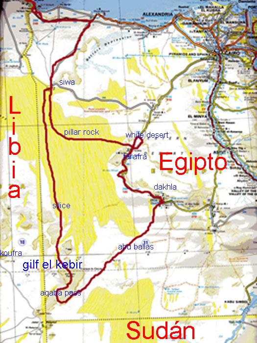 Mapa de Egipto y de la regi?n de Gilf al Kabir