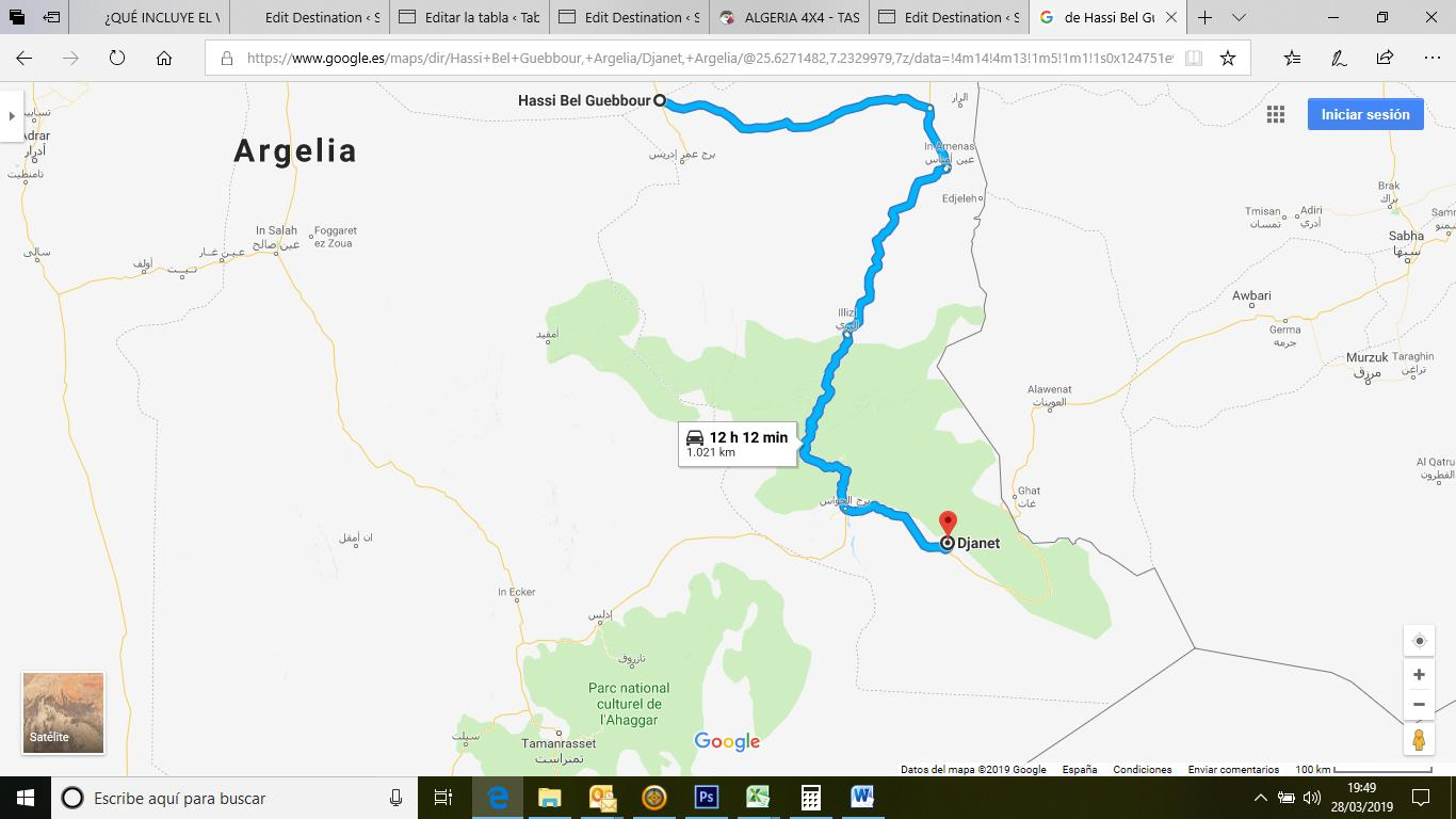 Itinerario Hassi Bel Guebbour-Djanet